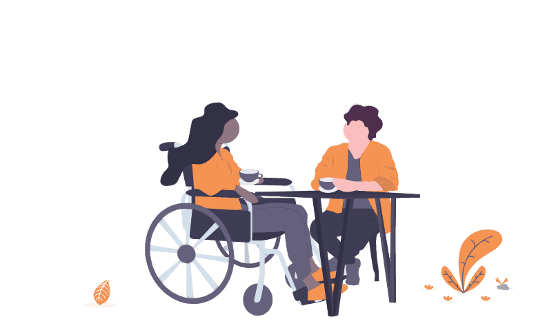Drawing of a woman meeting with a female student in a wheelchair