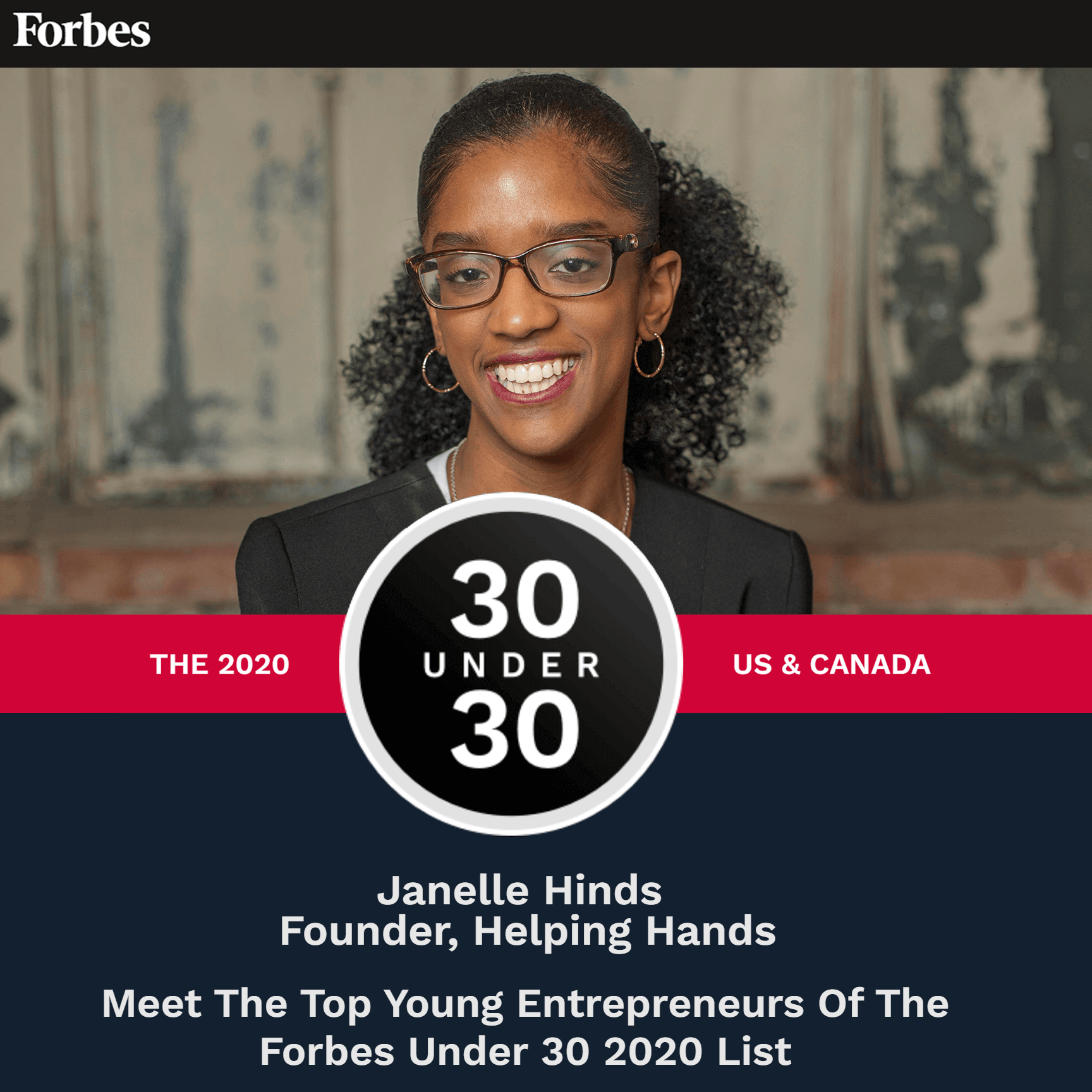 Founder Janelle Hinds featured in Forbes Under 30 for education