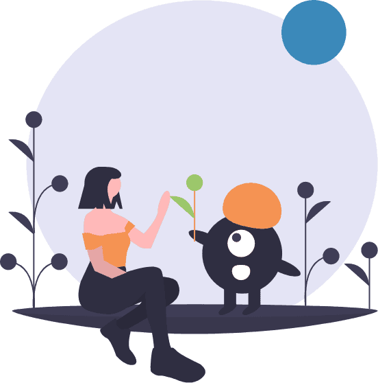 Drawing of a creature giving a plant to a woman