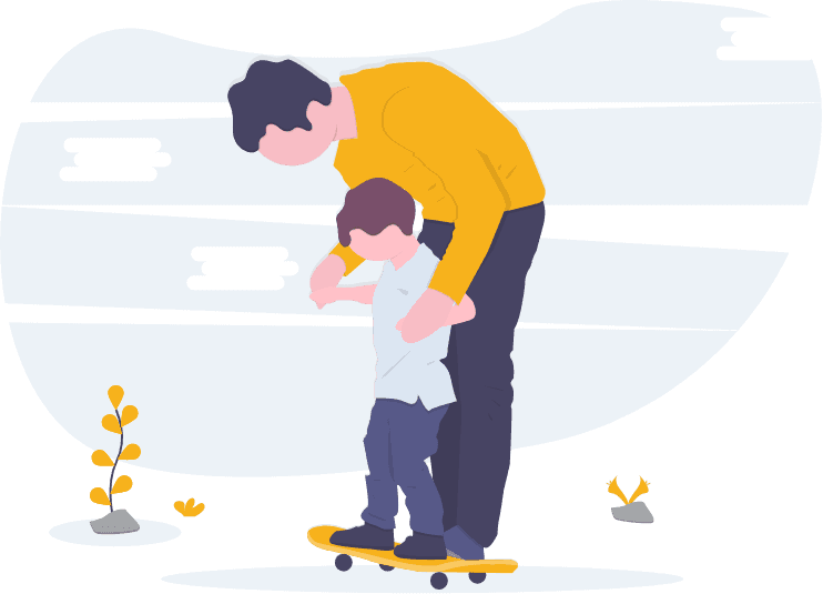 Drawing of a father helping his son skateboard