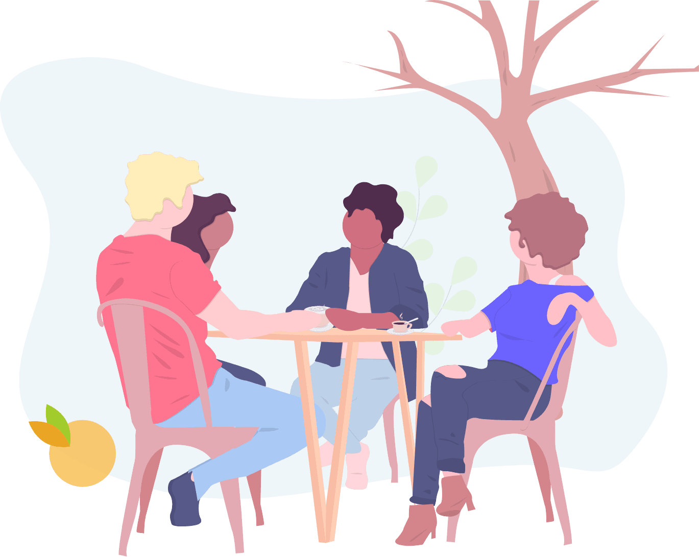 Drawing of a group of people having coffee and chatting